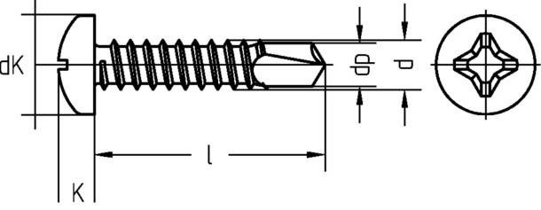 Linsenblechschraube mit Bohrspitze